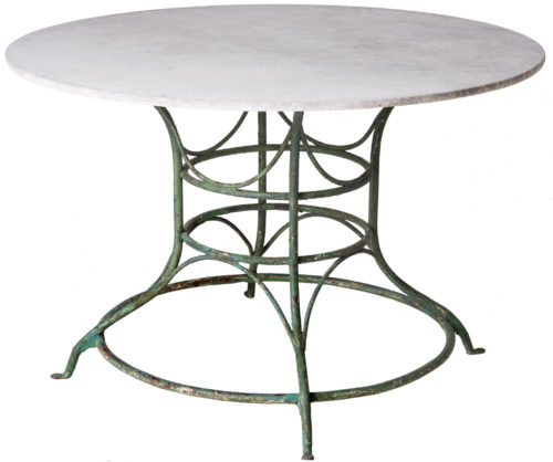 A French Wrought Iron Circular Table With White Marble Top Circa 1900