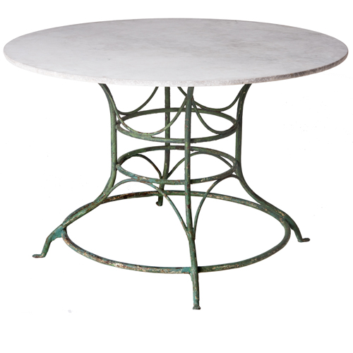 green base marble top table