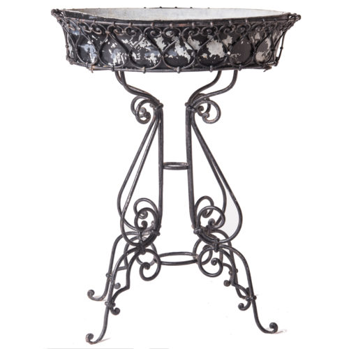 A French Black Painted Wrought Iron Jardiniere With Liner Circa 1900