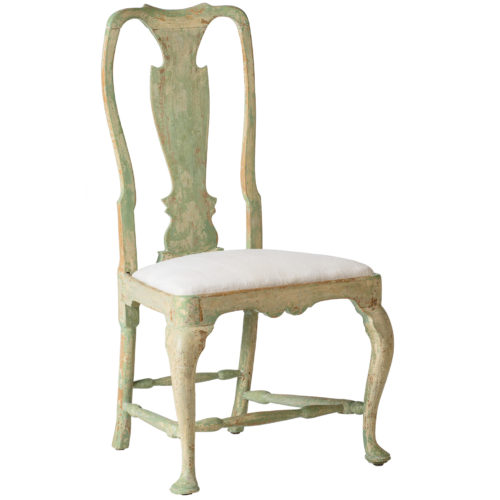 A Swedish Rococo Period Chair With Green Paint Circa 1770