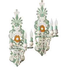 A Pair of Painted Wood French Folk Art Sconces Circa 1950