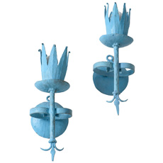 A Pair of Blue Painted Iron Sconces French Circa 1900