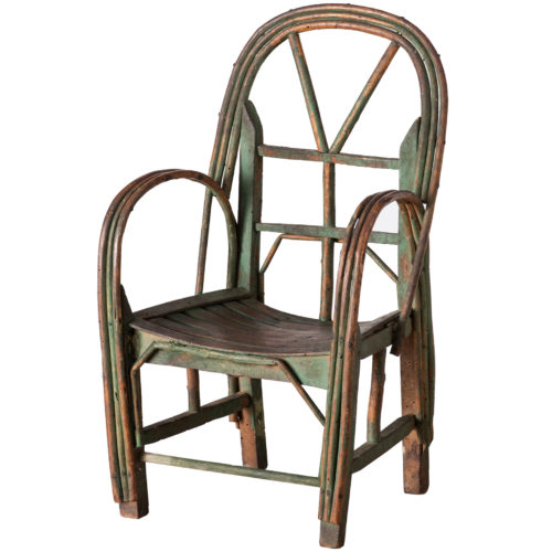 A French Child's Garden Chair in Original Green Paint Circa 1900