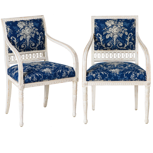 swedish blue and white armchairs