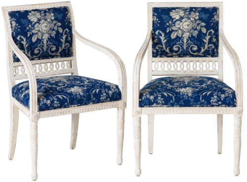 A Pair of Swedish Late Gustavian Armchairs With Old White Paint Circa 1820