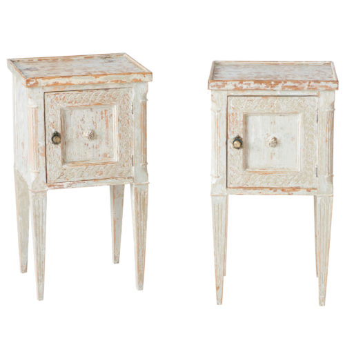A Pair of Swedish Gustavian Style Bedside Tables Circa 1870