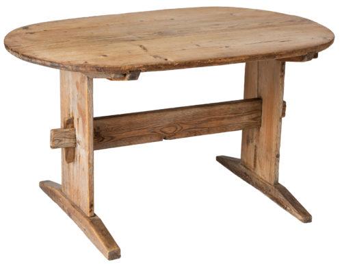 A Swedish 19th Century Oval Trestle Table Circa 1850