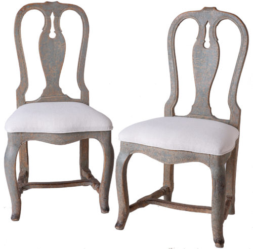 A Pair of Swedish Rococo Period Side Chairs Circa 1760