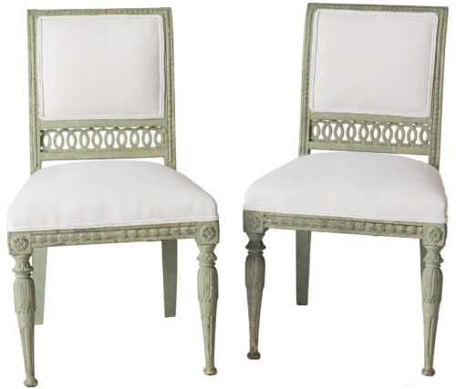 A Pair of Swedish Gustavian Period Side Chairs in Old Green Paint Circa 1800
