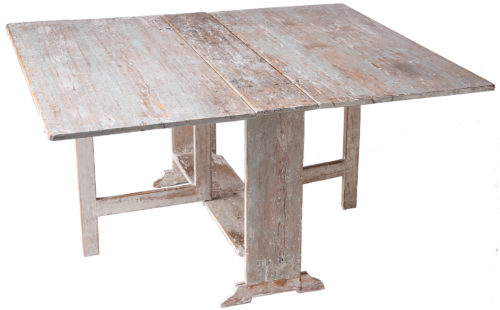 A Swedish Drop Leaf Slagbord Table With Traces of Blue Paint Circa 1820