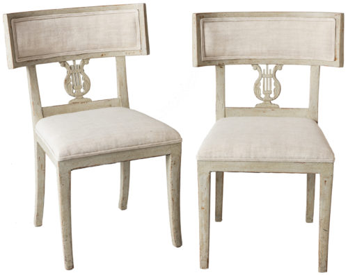 A Pair of Late Gustavian Period Swedish Klismos Chairs Circa 1815