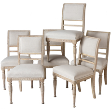 An Assembled Set of Six Swedish Late Gustavian Stockholm Dining Chairs Circa 1810