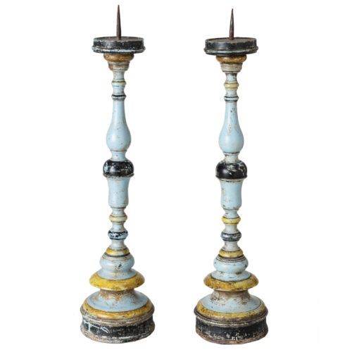 An Italian Pair of Blue Painted Torcheres Circa 1790