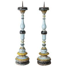 An Italian Pair of Blue Painted Torcheres Circa 1790
