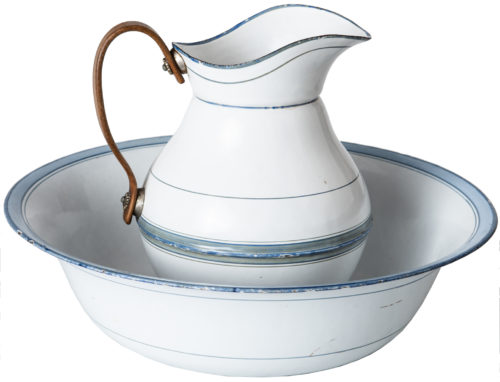 A French Enamel Bowl and Pitcher With Blue Stripe Detail Circa 1900