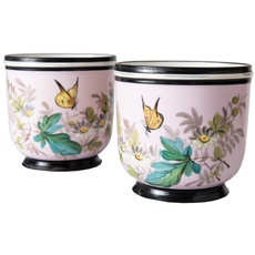A Pair of French Porcelain Cachepot Circa 1880