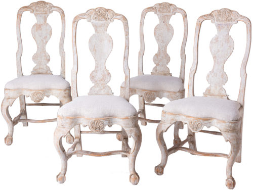 An Early Set of Four Swedish Rococo Lindome Chairs Circa 1750