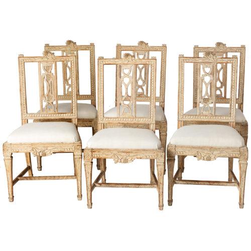 "A Set of Six Swedish Lindome ""Gunnebo"" Dining Chairs circa 1790"