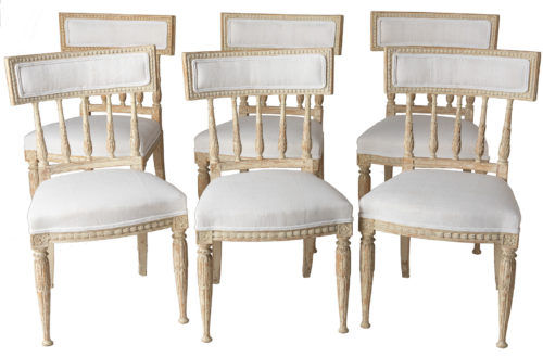 A Set of Six Swedish Gustavian Period Stockholm Dining Chairs With Upholstered Backrests Circa 1790