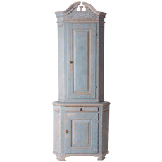 A Swedish Gustavian Period Blue Painted Corner Cabinet Circa 1780