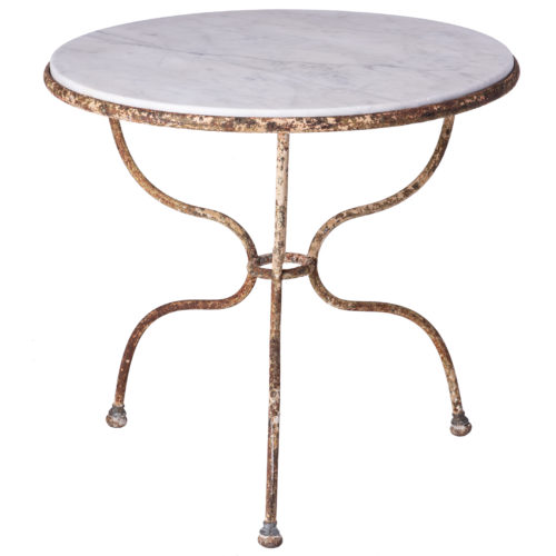 A Round Marble Top Café Table With Wrought Iron Base, France, Circa 1890