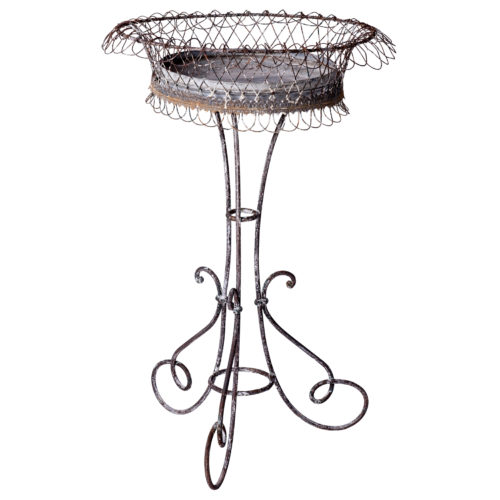 A Late 19th Century French Wrought Iron and Wirework Plant Stand