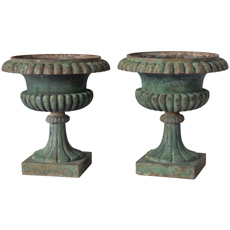 "A Rare Pair of Swedish Cast Iron Urns, Signed ""husqvarna No.1"", Mid 19th Century"