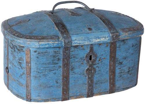 A Swedish Wooden Travel Box in Original Blue Paint Circa 1780