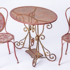 7-8185-A-French-Oval-Wrought-Iron-Table-C.1870-and-Two-Chairs-in-Original-Maroon-Paint-10