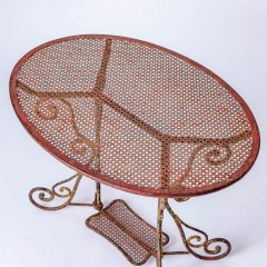 7-8185-A-French-Oval-Wrought-Iron-Table-C.1870-and-Two-Chairs-in-Original-Maroon-Paint-12
