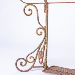 7-8185-A-French-Oval-Wrought-Iron-Table-C.1870-and-Two-Chairs-in-Original-Maroon-Paint-14