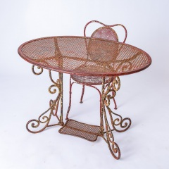 7-8185-A-French-Oval-Wrought-Iron-Table-C.1870-and-Two-Chairs-in-Original-Maroon-Paint-15