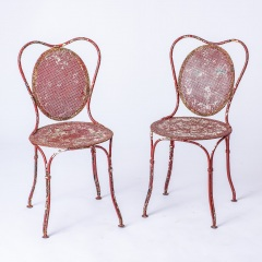 7-8185-A-French-Oval-Wrought-Iron-Table-C.1870-and-Two-Chairs-in-Original-Maroon-Paint-16