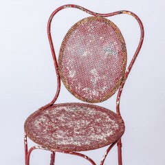 7-8185-A-French-Oval-Wrought-Iron-Table-C.1870-and-Two-Chairs-in-Original-Maroon-Paint-17