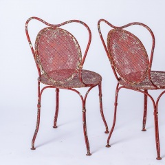 7-8185-A-French-Oval-Wrought-Iron-Table-C.1870-and-Two-Chairs-in-Original-Maroon-Paint-18
