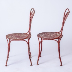 7-8185-A-French-Oval-Wrought-Iron-Table-C.1870-and-Two-Chairs-in-Original-Maroon-Paint-19