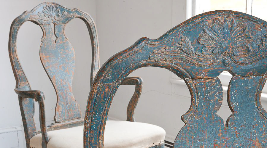 Two Blue Rococo Swedish Antique Chairs
