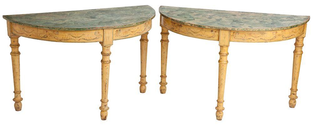 painted antique Italian demilunes tables