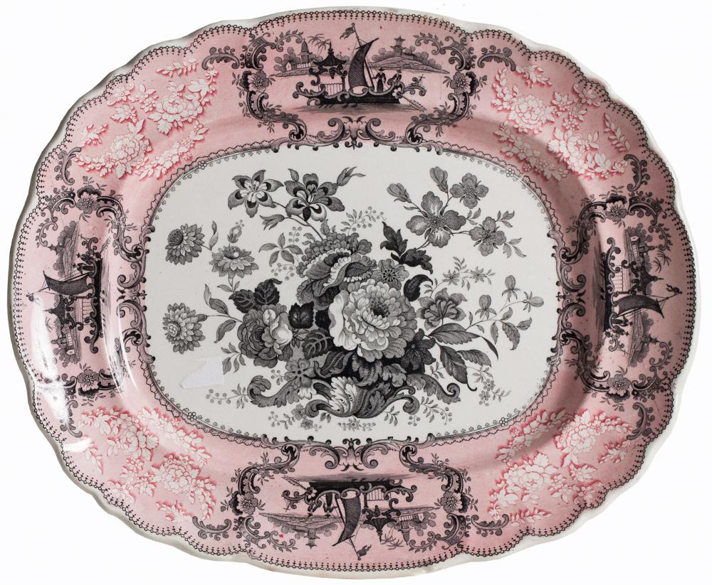 Pink Transfer Platter main Dawn Hill Swedish Antiques