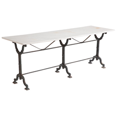 Long french marble top bistro table Dawn Hill Swedish Antiques