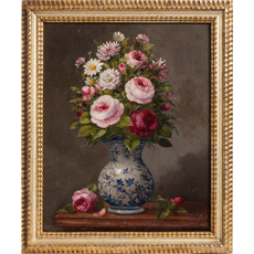 french oil flower painting dawn hill swedish antiques