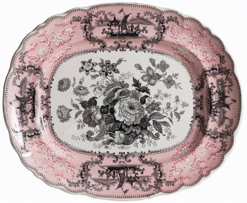 pink transferware platter antique