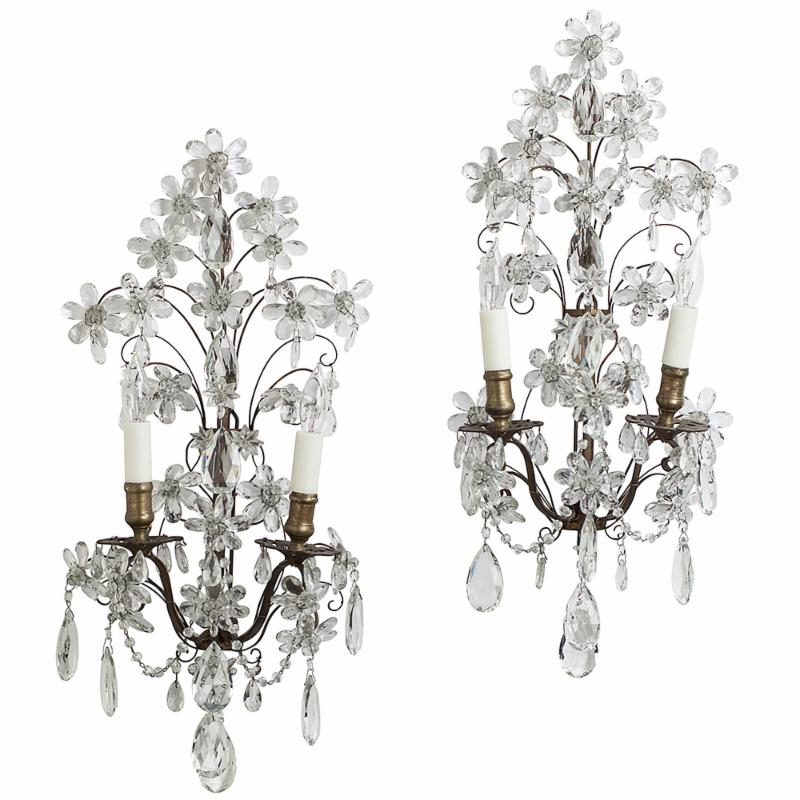 crystal flower sconces