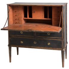 black painted with coral paint interior swedish antique desk secretary