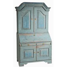 Swedish antique secretary original painted blue patina