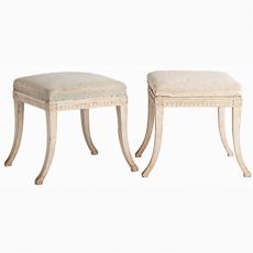 Swedish Gustavian antique stools original painted
