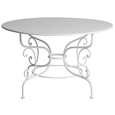 A French White Round Iron Garden Table Dawn Hill Swedish Antiques