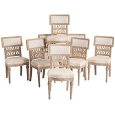 Eight Signed Swedish Gustavian Period Chairs, Lindome, circa 1780 dawn hill swedish antiques