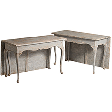 Two scandinavian Rococo Style Drop Leaf Console Tables, circa 1890 dawn hill swedish antiques