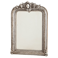A French Louis Phillip Period Silver Gilt Mirror with Roses